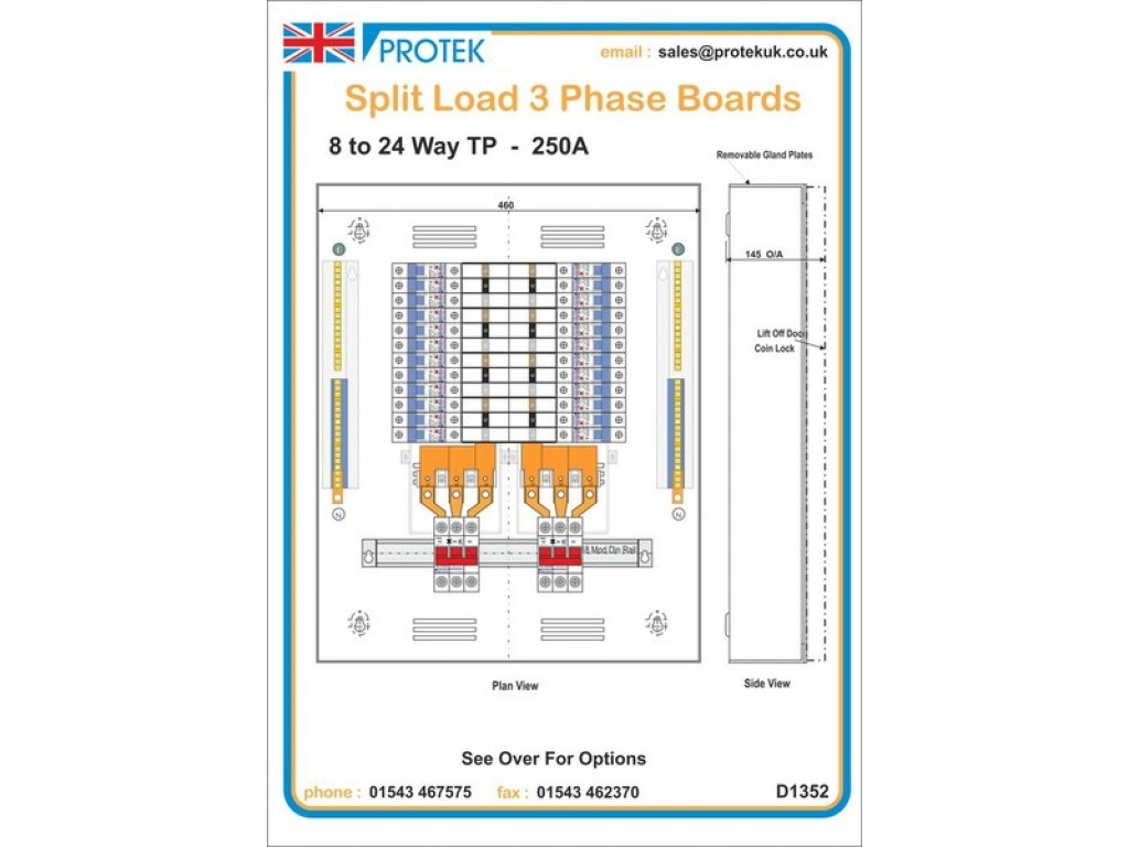 24 Way 12 Power Ways Lighting 3 Phase Metal Split Load This Is A Three Electrical Panel For The And Of Board