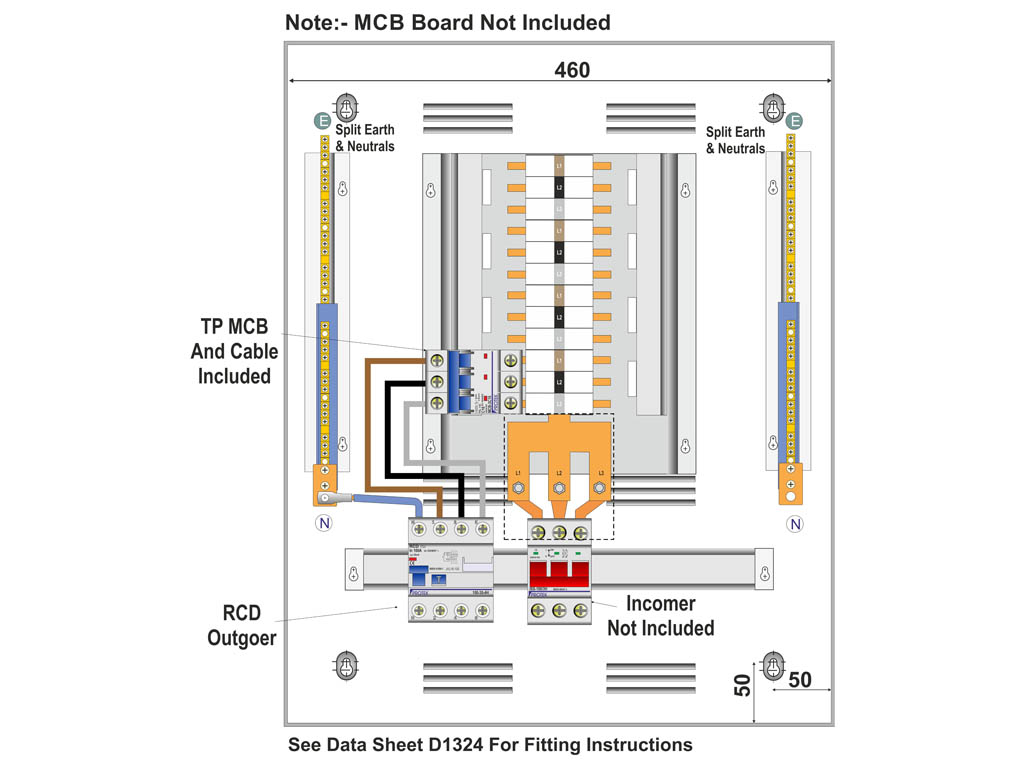 16 Amp 3 Pole C Curve Mcb With 4 Pole Rcd Outgoing Kit