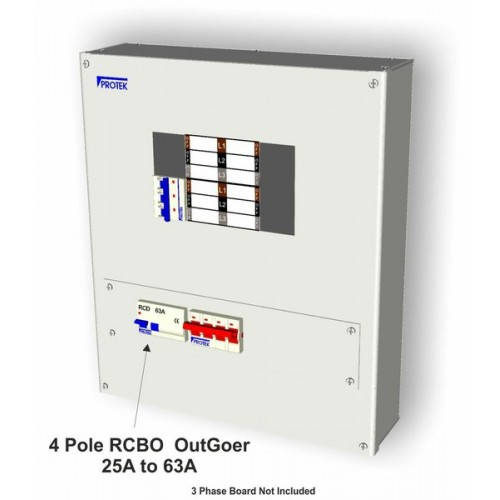 32 Amp 3 Pole C Curve Mcb With 4 Pole Rcd Outgoing Kit