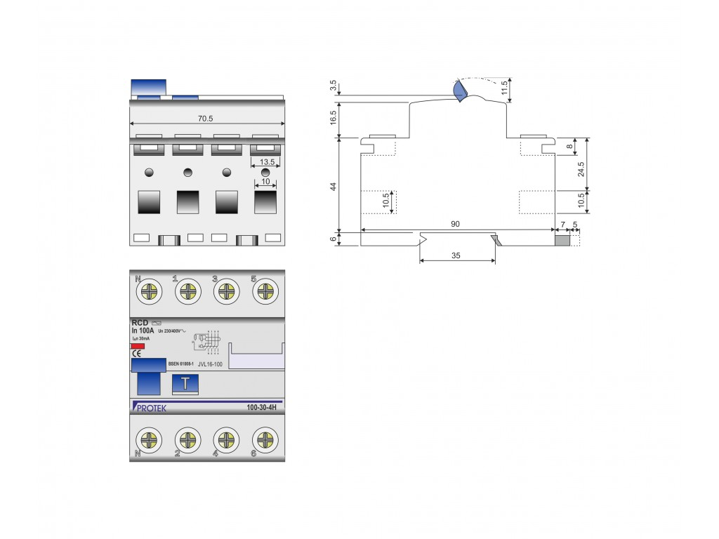 100a 4 Pole 4 Module 500ma Time Delay Rcd Protek Uk