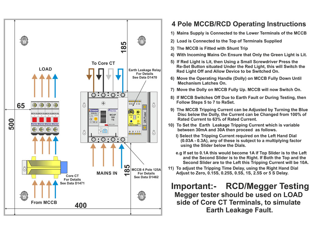 3 phase rccb connection diagram 3 image wiring diagram fully adjustable 125a 3 phase rcbo metal enclosure protek uk on 3 phase rccb connection